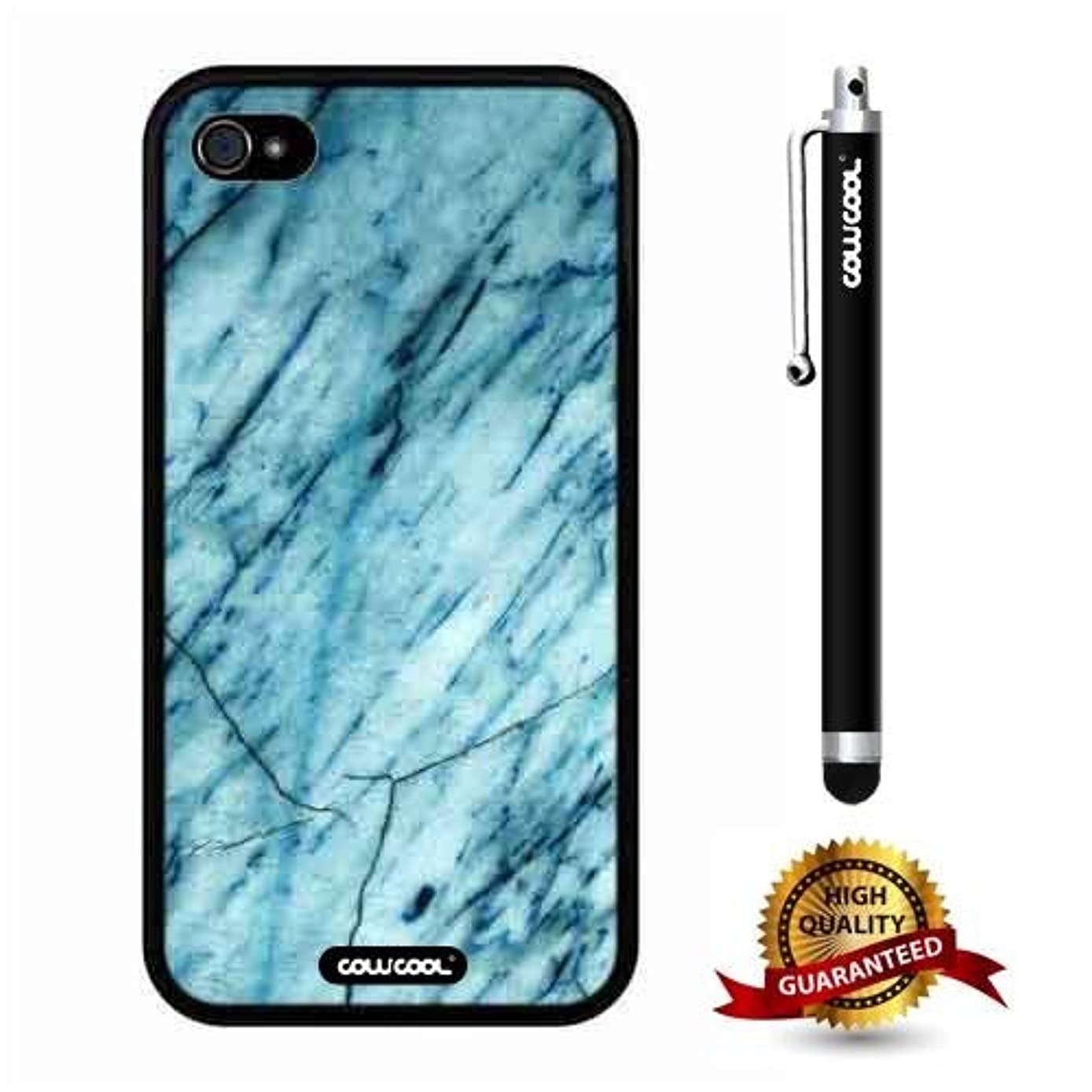 iphone 4S Case, Marble Pattern Case, Cowcool Ultra Thin Soft Silicone Case for Apple iphone 4S - Slash Grid Marble Texture
