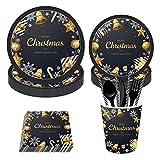 Vajilla Desechable 93pcs / set Lámina de oro Vajilla desechable de Navidad Platos de papel para fiestas Suministros de fiesta de cumpleaños para niños Juego de vajilla de año nuevo