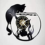 Reloj de Pared de Vinilo con diseño de Gato y Acuario Retro con diseño de Reciclaje, decoración de Pared, decoración de Pared de 12 Pulgadas (sin Luces)