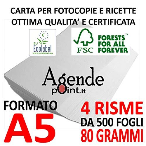 Risme carta A5 per fotocopie e ricette 80gr bianca (14,8x21) pezzi 4 risme carta alta qualità per fotocopie