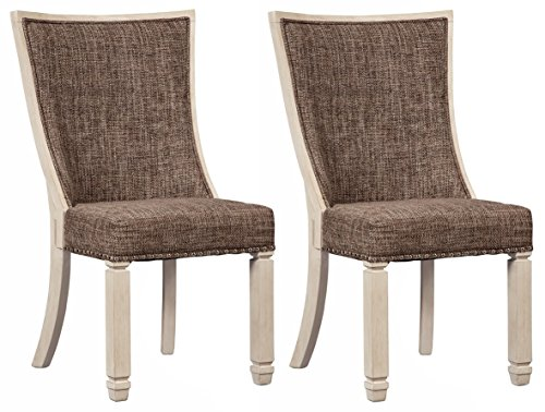 Ashley Furniture Signature Design - Bolanburg Dining Side Chair - Set of 2 - Upholstered - Two-tone - Textured Antique White Finish