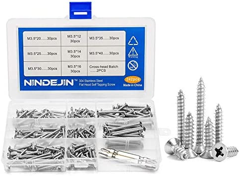 NINDEJIN 242Pcs Stainless Steel Wood Screws Assortment Kit Phillips Flat Head Self Tapping Screw product image