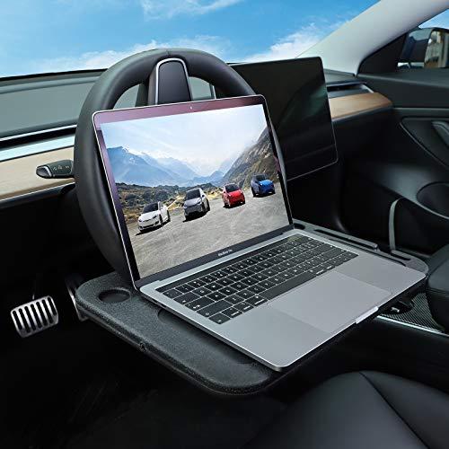 BASENOR Tesla Model Y Model 3 Escritorio del volante para comer/portátil Negro 2021 UPGRADE(No daña el volante)