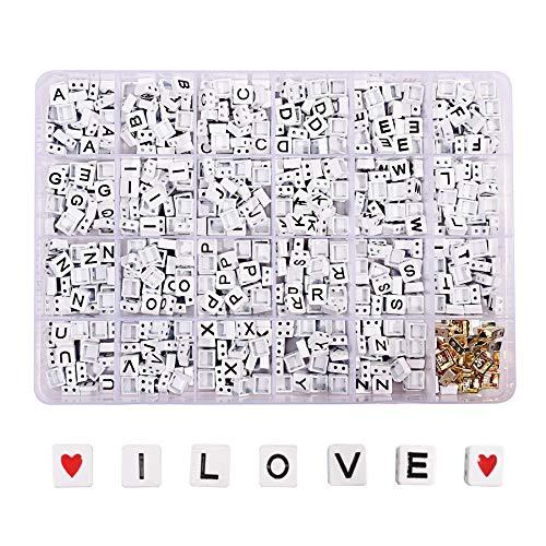 720pcs/Box Enamel Letter Beads Alphabet Square Tila Tile Bead Kit Jewelry Making Metal Hematite Japanese Beads for Crafts DIY Miuki Beads Wholesale