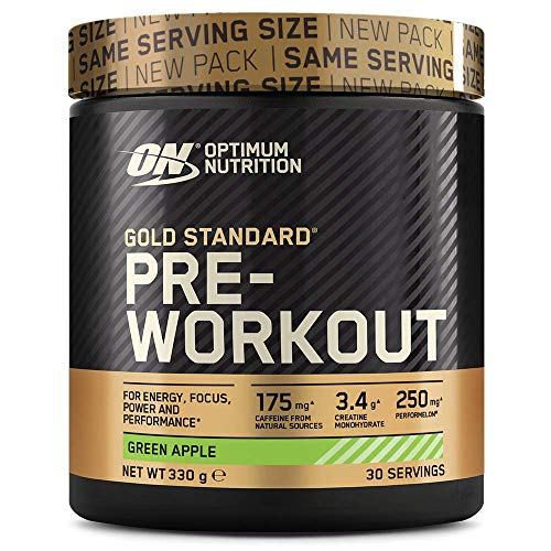 Optimum Nutrition ON Gold Standard Pre Workout, Energy Drink Pulver mit Kreatin Monohydrat, Beta Alanin, Koffein und Vitamin B Komplex, Green Apple, 30 Portionen, 330g, Verpackung kann Variieren