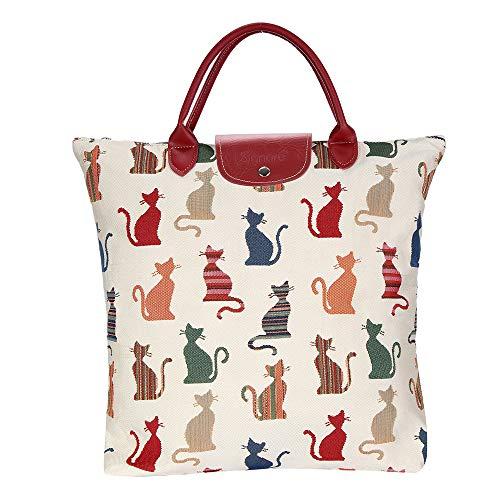 Signare Tapestry arazzo Borsa Riutilizzabile Shopper Donna, Shopping Pieghevole Borsa, olding Shopping Bag Donna (Gatto Sfacciato)