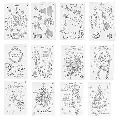 Dizie 12-teiliges Schablonen-Set mit Weihnachtsmotiven, zum Basteln, für Kunstwerke, Zeichnen, Urlaub, Weihnachten