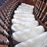 XOCKYE Stufenmatten Treppenmatten Treppenteppich Set Stufenschutz für Ihre Treppe Stufen Treppenstufen rutschfest Matten Selbstklebende Teppich@Weiß_85x24cm