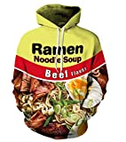 JOOCAR Unisex Hoodies 3D Realistic Print Funny Ramen Noodle Soup Beef Flavor Pullover Hooded Sweatshirts Long Sleeves Hoodies with Big Pockets Personality Tops