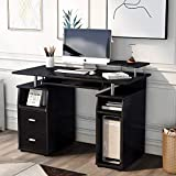 Merax Home Office Computer Desk, Multi-Functional Writing Table Desk with Keyboard Tray and Drawers (Black)