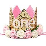 GFDFD Bebé niña Primer Sombrero de cumpleaños 1st 2nd 3rd Fiesta de cumpleaños Gorra Rosa Princesa Corona niños favorece Accesorios para el Cabello de bebé (Color : Style 1)