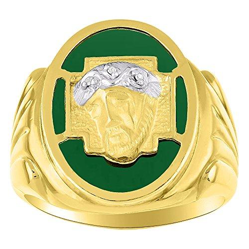 Anillo de ónice de oro amarillo o blanco de 14 quilates con diamantes y verde