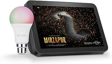 Echo Show 8 (Black) bundle with Zoook 9W Smart LED Color Bulb