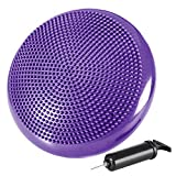 REEHUT Inflated Stability Wobble Cushion, Balance Disc Trainer 13' Diameter for Workout, Therapy, Fitness and Training Exercise with Free Air Pump and Ebook (Purple)