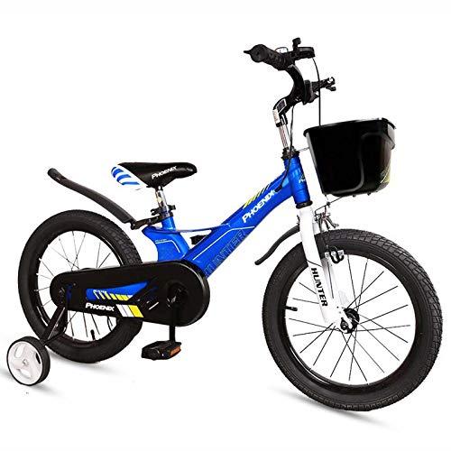 EDECO Bicicleta para niños Bicicleta para niños 14 16 Bicicleta de montaña de 18 Pulgadas, Bicicleta para niños y niñas con Ruedas de Entrenamiento, para niños de 3 a 12 años,Azul,16inch