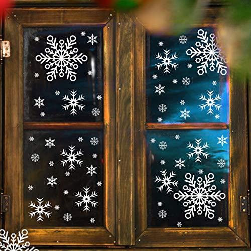 WEYON Wiederverwendbar Weihnachten Fensterbilder, 168 Stück Schneeflocken Fenstersticker Abnehmbare Fensterdeko aus PVC für Weihnachts-Fenster Dekoration, Türen,Schaufenster