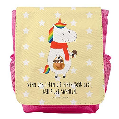 Mr. & Mrs. Panda Kids, Rucksack, Kinderrucksack Einhorn Pilz mit Spruch - Farbe Gelb Pastell