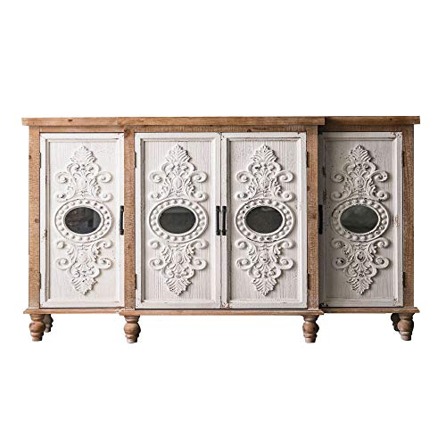 MKMKT Sideboard, Solid Wood Vintage Carved Sideboard Industrial Style Living Room Homestay Porch Decorative Cabinet Storage Cabinet 154X35x87cm