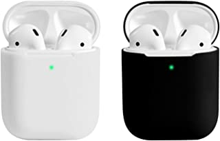 Coffea AirPods Case, 0.8mm Ultra Thin Soft Cover Skin Silicone Case for Apple AirPods 2 & 1 [Front LED Visible] (White+Black)