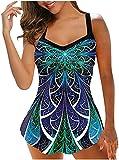 LiuliuBull Verano Tankini Swimsuits para Mujeres Tarkini Tops con Trajes de baño de Dos Piezas Tendencias Tiendas de baño Trajes de baño de Cintura Alta (Color : 11-Green, Size : 4XL)