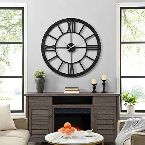FirsTime & Co. Black Big Time Clock, American Designed, Black, 40 x 2 x 40 inches