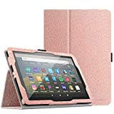 MoKo Case Compatible with All-New Kindle Fire HD 8 Tablet and Fire HD 8 Plus Tablet (10th Generation, 2020 Release),Slim Folding Stand Cover with Auto Wake/Sleep - Glitter Pink