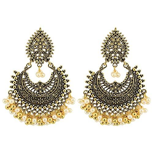 xingguang Nuevos pendientes de oro antiguo hecho a mano perlas borla india jhumki jhumka Nepal pendientes bohemia fiesta joyería gitana (color metal: oro)