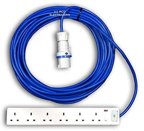 10 metre azul para acampada Hook Up/Cable alargador con 16 Amp Plug and 6 tomacorriente - profesional una vez montada por toma de MCD