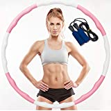 Aoweika Hula Hoop Reifen für Kinder Erwachsene, Zusammenklappbare & Einstellbare Fitness Ubung Hula Hoop und Springseil zur Gewichtsreduktion Profis Anfanger - Rosa & Weiß