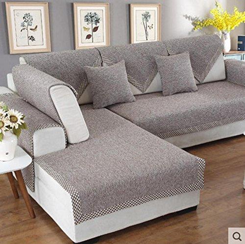 lililili Sofá de Lino Cubierta,con Estilo y Simple,Funda de cojín Multiusos sofá Antideslizante,Protector de Muebles Decorativos de Estilo nórdico seccional-B 90x120cm(35x47inch)