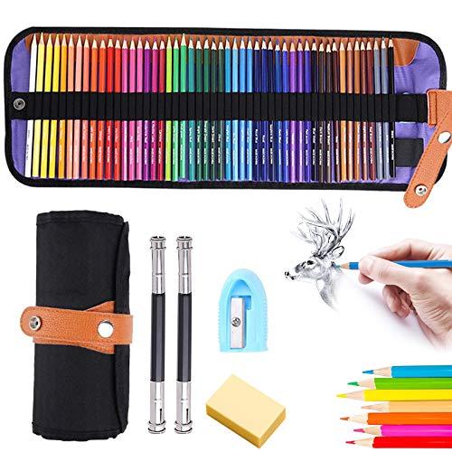 Lápices de Colores,50 Piezas Lápices de Dibujo Set,Incluye 2 extensores de lápiz y 1 borrador,Para Artistas Profesionales y Principiantes