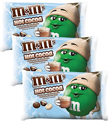 M&M Solid Milk Chocolate Candy - Hot Cocoa Flavored M&M's Christmas Candy - 8 Ounce - Pack of 3 (Hot Cocoa)