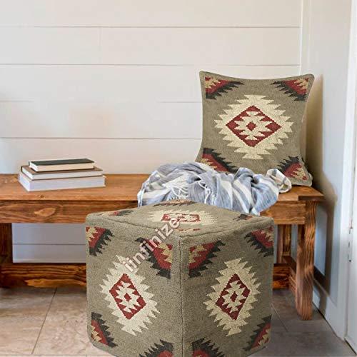 iinfinize - Funda de cojín para reposapiés y funda de almohada marroquí de yute de lana, funda de almohada hippie étnico, puffe,...