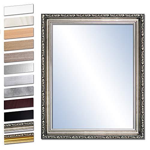Bilderdepot24 Wandspiegel Spiegel Badspiegel Holzrahmen komplett mit Echtglas - Silber Antik - ca. 50x40 cm