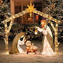 5 Ft Tall Elegant Pre Lit Nativity Scene Display Sculpture Glittering Tinsel Yard Outdoor Decor Holiday Christmas Lighted Decoration