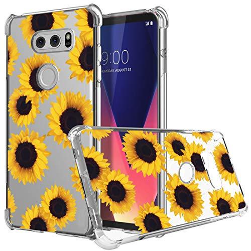 Sidande LG V30 Case, Shockproof Clear Floral Soft Flexible TPU Slim Phone Case Cover for LG V30, LG V30s,LG V30 Plus,LG V35,LG V35 ThinQ 2017 Release (Sunflower)