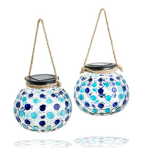 Gadgy ® Set Lampara Solar mesa Azul| USB Recargable | 2 Piezas Hecho de Vidrio | Lanterna LED de Efecto Luz Mosaico | Para Casa, Jardin, Exterior | Mirada Unica[Clase de eficiencia energética A++]