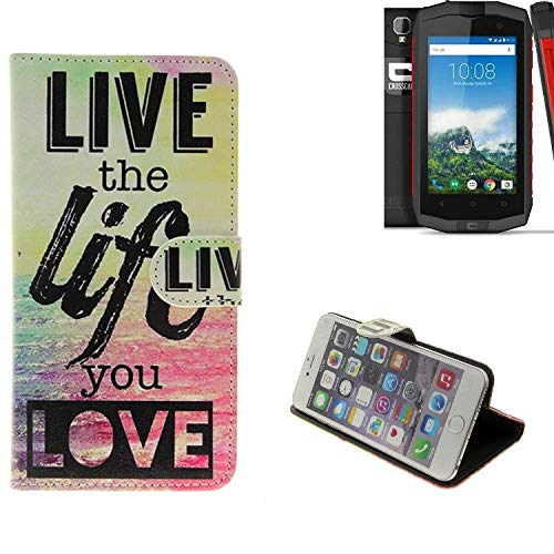 K-S-Trade® Schutzhülle Kompatibel Mit Crosscall Trekker-M1 Core- Schutz Hülle 360° Wallet Case ''live Life Love'' Schutzhülle Handy Tasche Handyhülle Etui Smartphone Flip Cover Standfunktion