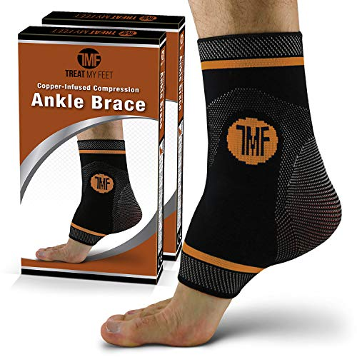Pair of Copper Infused Compression Ankle Brace, Silicone Ankle Support w/ Anti-Microbial Copper. Plantar Fasciitis, Foot, & Achilles Tendon Pain Relief. Prevent & Support Ankle Injuries & Soreness - L