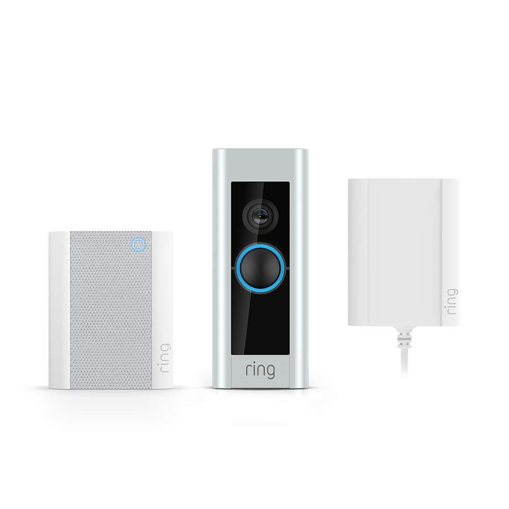Ring Video Doorbell Pro avec adaptateur secteur et Ring Chime, vidéo HD...