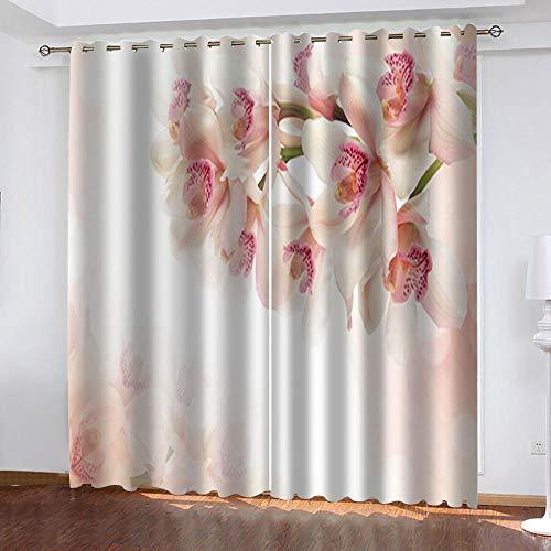 ZLQBed Vorhang Blickdicht Blumen Gardinen mit Ösen Thermo Vorhänge Verdunklungsgardinen für Schlafzimmer Wohnzimmer Kinderzimmer 2 Stücke 140x160cm