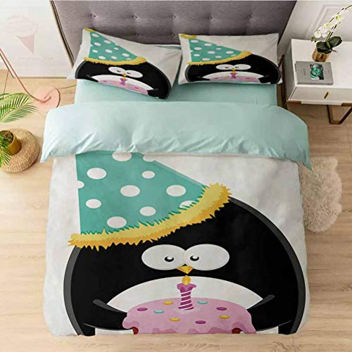 Aishare Store Bedding Duvet Cover 3 Piece Set, Adorable Funny Peinguin with Party Hat and Cake Newborn Carto, Comforter Cover with Zipper Closure and 2 Pillow Shams, Multicolor