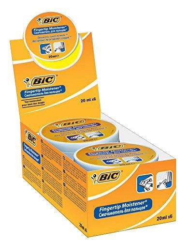 Bic 897178 - Humedecedor de yemas de los dedos (6 unidades, 20 ml), color blanco y naranja