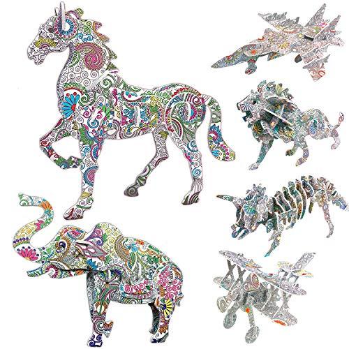 Puzzle 3D Arte, AivaToba 4 Pack 3D Color Puzzle Animale 2 Pack Jigsaw Giocattolo Puzzle da Colorare 3D con 12 Pennarelli Puzzle di Pittura 3D per Bambini Adulti Ragazze Ragazzi