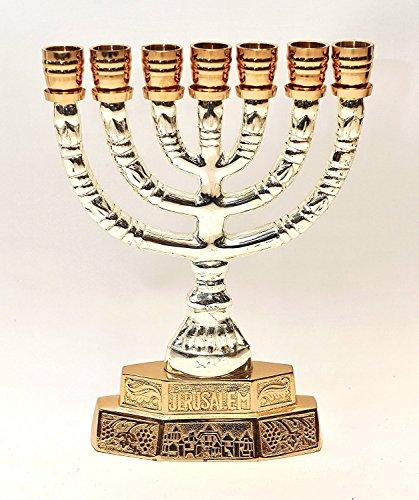 Grande Menorah Oro e Argento Placcato da Terra Santa Gerusalemme H/28cm x W/21cm