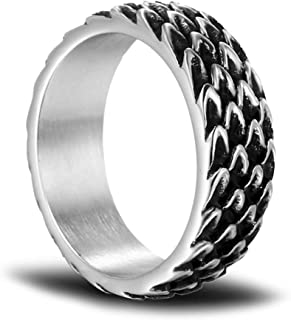 MYLYAHY Dragon Ring for Men,Cool Stainless Steel Scales Rings,Mens Punk Biker Rings Jewelry With Box