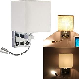 TiooDre Aplique de Pared Moderno en Cromo Pulido con Pantalla de Tela y luz de Lectura LED Ajustable
