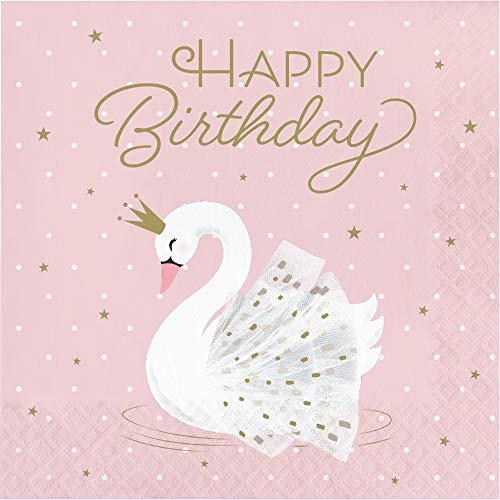Creative Converting Stilvolle Swan Happy Birthday Servietten, 16 ct, mehrfarbig, 16,5 cm