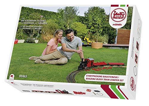 LGB 90463 Einsteiger Startpackung Klemmbausteinzug, Modelleisenbahn Spur G, Startset für eine allwettertaugliche Gartenbahn