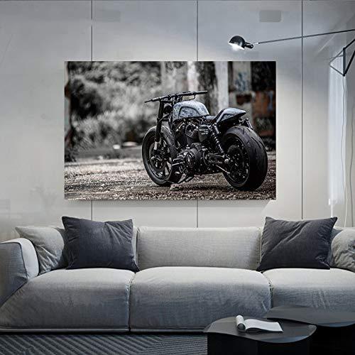 Carteles de pintura en lienzo de motocicleta modificada para bicicleta pesada, arte de pared para la decoración del hogar de la sala de estar 40x60cm